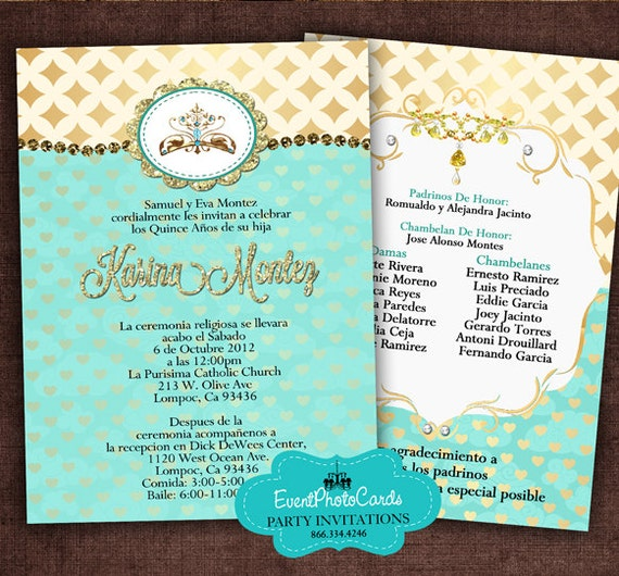 gold and teal quinceanera invitation set printable diy print etsy