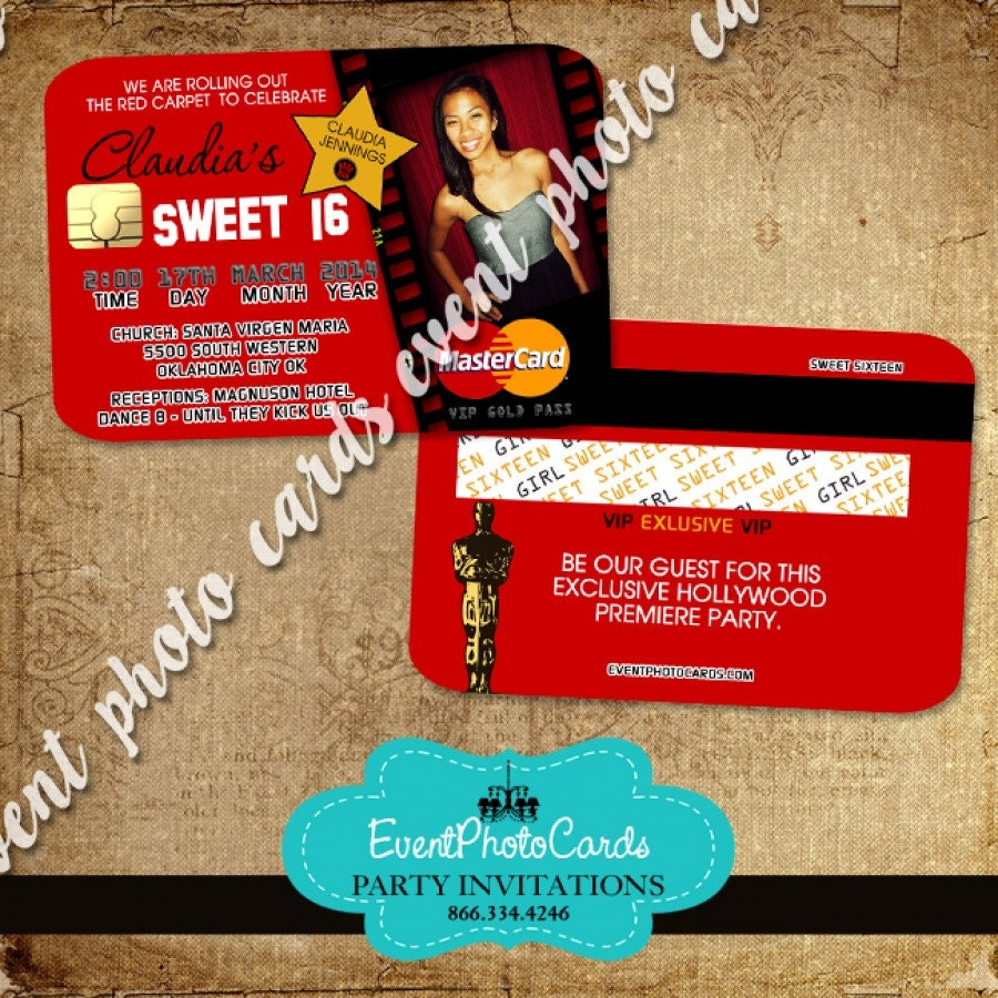 Set of 50 Red Sweet 16 Teen Invites Credit Card Invitations | Etsy