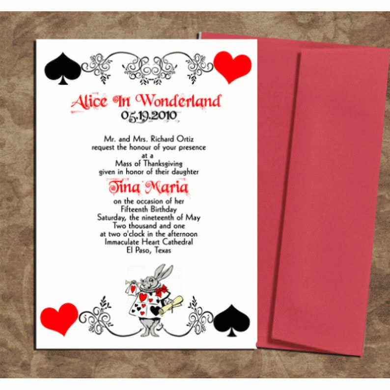 Alice In Wonderland Birthday Invitations Printable PDF Print Your Own Invite Design Sweet 15 Or 16
