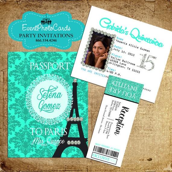 París Pasaporte Invitaciones Para Quince Años Dulce Invita Quince Invitaciones Para Xv 15 Partido Invita A Conjunto De 30