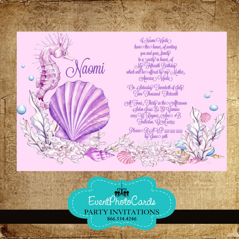 fe6567c2ca4 Butterfly Quinceanera Sweet 16 Birthday Invitations SeaShell