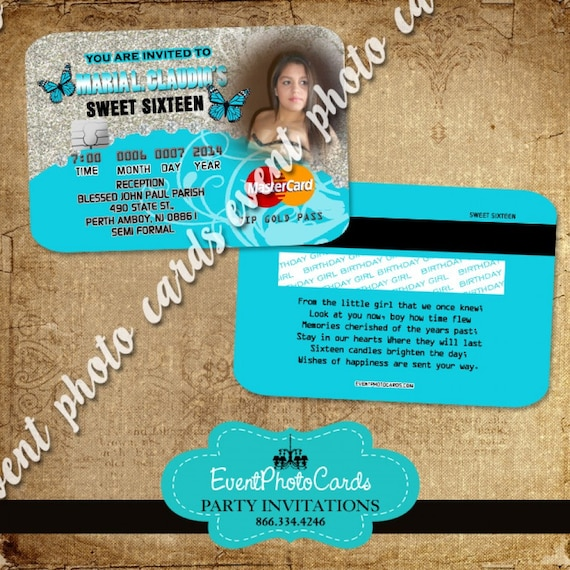 Set of 50 credit card invitations for quinceanera or sweet 16 etsy image 0 reheart Image collections