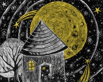 House of the Moon Handmade Greeting Card  DESIGN NO. 124
