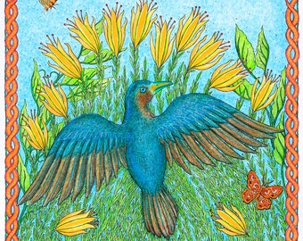 Satin Bowerbird - Female, Hand Made Card