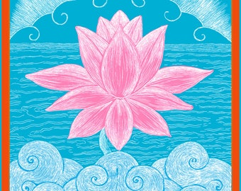 Cloud Lotus Handmade Archival Fine Greeting Card, 5 x 7