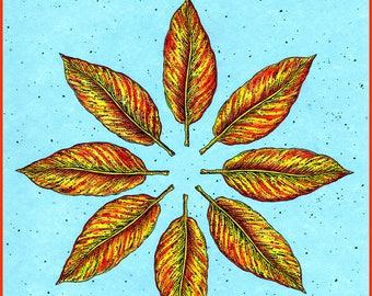 Autumn Wheel Hand Made Art Card, Autumnal Equinox Blank Greeting card DESIGN NO. 152