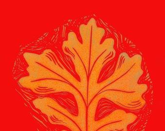 Sacred Oak Leaf in Orange 5 x 7 Archival Hand Made Card