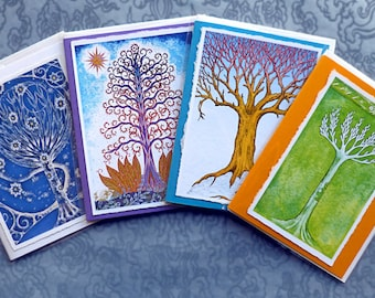 Winter Trees, Set of Four Hand Made Note Card Gift Set,  Archival Reproductions from Original Etchings and Paintings