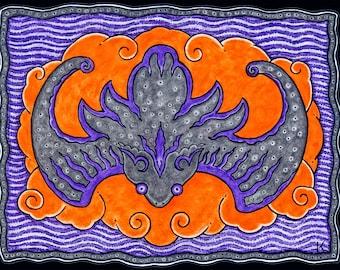 Lucky Bat Hand Made Greeting Card DESIGN NO. 42