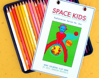 Space Kid Mini Flip Coloring Book Exploration Series No. One