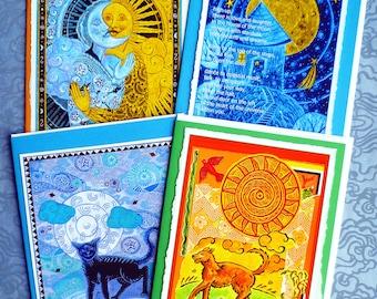 Sun and Moon Four Note Set, Sun kissing Moon, House of the Moon, Sun Dog, Moon Cat
