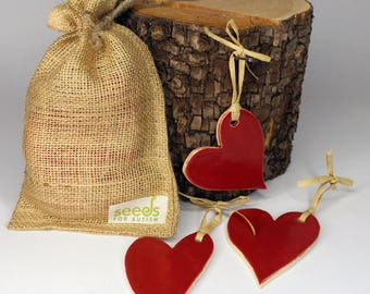 Red Ceramic Heart Set - Set of 3 - Have a Heart!