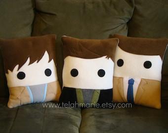 Portrait Pillow, Sam, Dean, or Cas, cushion, throw pillow, Plush