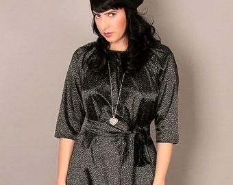 Black modest 3\4 sleeve midi dress, with belt and print