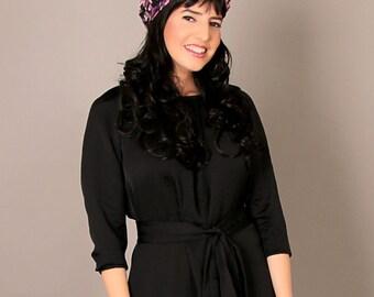 Black modest 3\4 sleeve midi dress, with belt