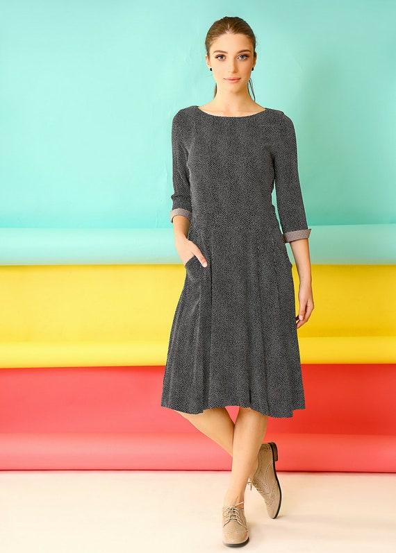 d041d1cff0c6 Tea length dressFall midi dress50s midi dressMid length | Etsy