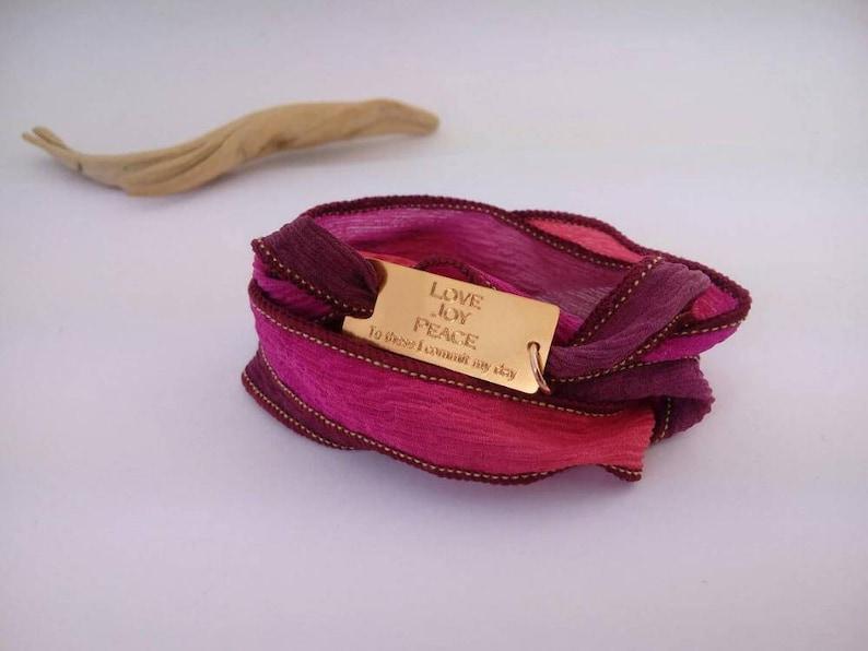 Friendship bracelet Soul sister BFF Gift for Her coordinates Bracelet 24K Gold925-silver Personalized Boho GOLD Silk Wrap bracelet