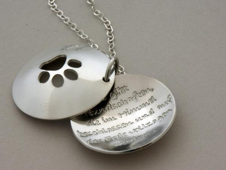Remembrance Pet Memorial Dog or Cat LOVER gift paw cut out necklace Love walks on four paws custom engraved handmade 925-silver jewelry