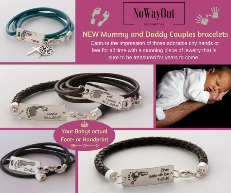 Your Babys actual Foot His and Hers bracelets NEW Mommy /& Daddy Couples bracelets or Handprint 925-silver handmade leather bracelets .