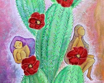 Fantasy images.Fairies.Womanhood art.Cactus.Red poppies.Nature art.Nature painting.whimsical art.Naive art.figurative art.Women art.fairy