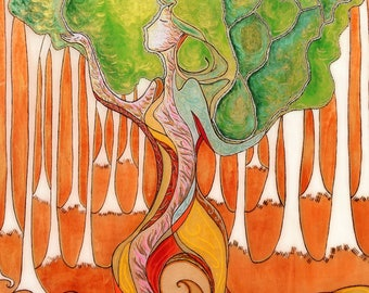 Healing art.Forrest painting.Divine feminine.Womanhood.Art for Women.Wooden art.Birth art.Pyrography art.Sacred art.Tree of life.Nature art