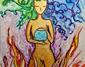 ACEO.Card.Little art.Womanhood art.Emotions.Aceo card.Divine feminine.Affordable art.Gioia Albano.Guardian of the emotions.Healing art.Fire