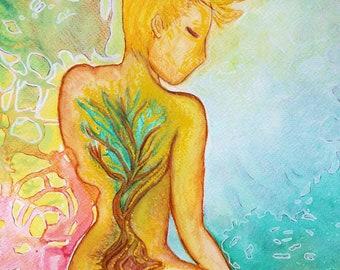 Healing art.Womanhood art.Tree.Nature art.Whimsical art.Naive art.figurative art.Women art.Watercolors.Tree of life.Woman back.Woman nude