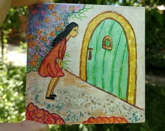 She loves that green door.Healing art.Womanhood.Small painting.Woman art.Green door.Divine feminine.Gioia Albano.Art for women.Little art