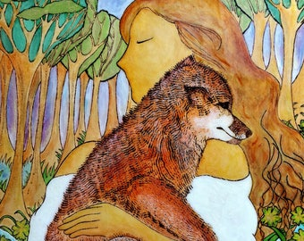 Embrace the wild.Womanhood art.Nature art.Pyrography art.Fox image.Healing art.Wild nature art.Nature connection.Fox image.Animal painting.