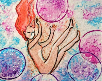 ACEO.Card.Little art.Womanhood art.Bubbles.Aceo art.Aceo card.Divine feminine.Affordable art.Gioia Albano.Playing with bubbles.Woman play