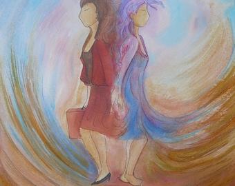 Women image.Womanhood art.Happiness.Gioia Albano art.Divine feminine art.Two woman.Fantasy woman.Small painting.Little painting.Little art.