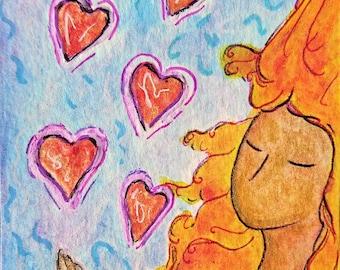 ACEO.Card.Little art.Womanhood art.Love.Aceo art.Card.Divine feminine.Affordable art.Gioia Albano.Valentine's day.Sending love.Valentine art