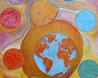 Healing The world.Chakra art.Chakra.Woman image.Womanhood art.Large painting.Divine feminine art.Healing art.Chakras.Rainbow.Rainbow art.