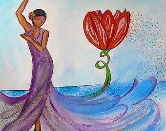 Woman image.Red tulip.Flamenco.Dancing woman.Womanhood art.Small painting.Sea painting.Fantasy.Woman with flowers.Divine feminine art.Dance