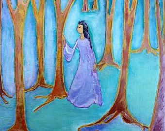 In my wood.Nature painting.Healing art.Trees.Womanhood.Small painting.Woman art.Wood.Blue painting.Divine feminine art.Gioia Albano.Forrest