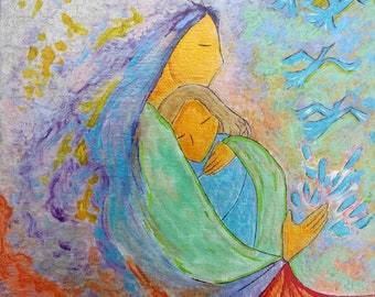 Tears will fly.Emotion painting.Healing art.Motherhood.Small painting.Woman art.Metal.Cold colors.Divine feminine.Gioia Albano.Mother's love