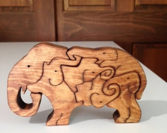 Wooden Elephant Legion Scroll Saw Puzzle - Handmade -6 Pieces - Stained