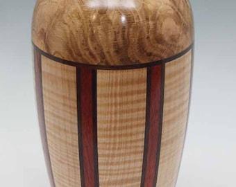 Exotic Turned Wood Segmented Vase