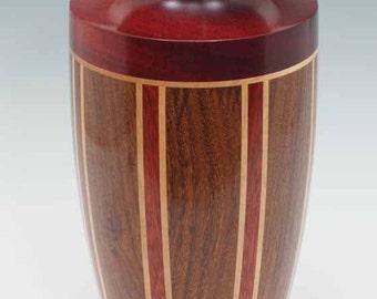 Turned Wood Segmented Vase;  Florida Rosewood - Bloodwood - Pear Wood