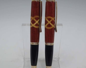 Turned Bloodwood Ballpoint Pen with Yellowheart Celtic Knot Inlay
