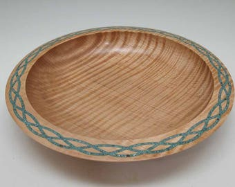 Tiger Maple Bowl with Turquoise Celtic Braid Inlay