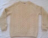 Beautiful Hand Knitted IRISH fisherman's sweater Pullover
