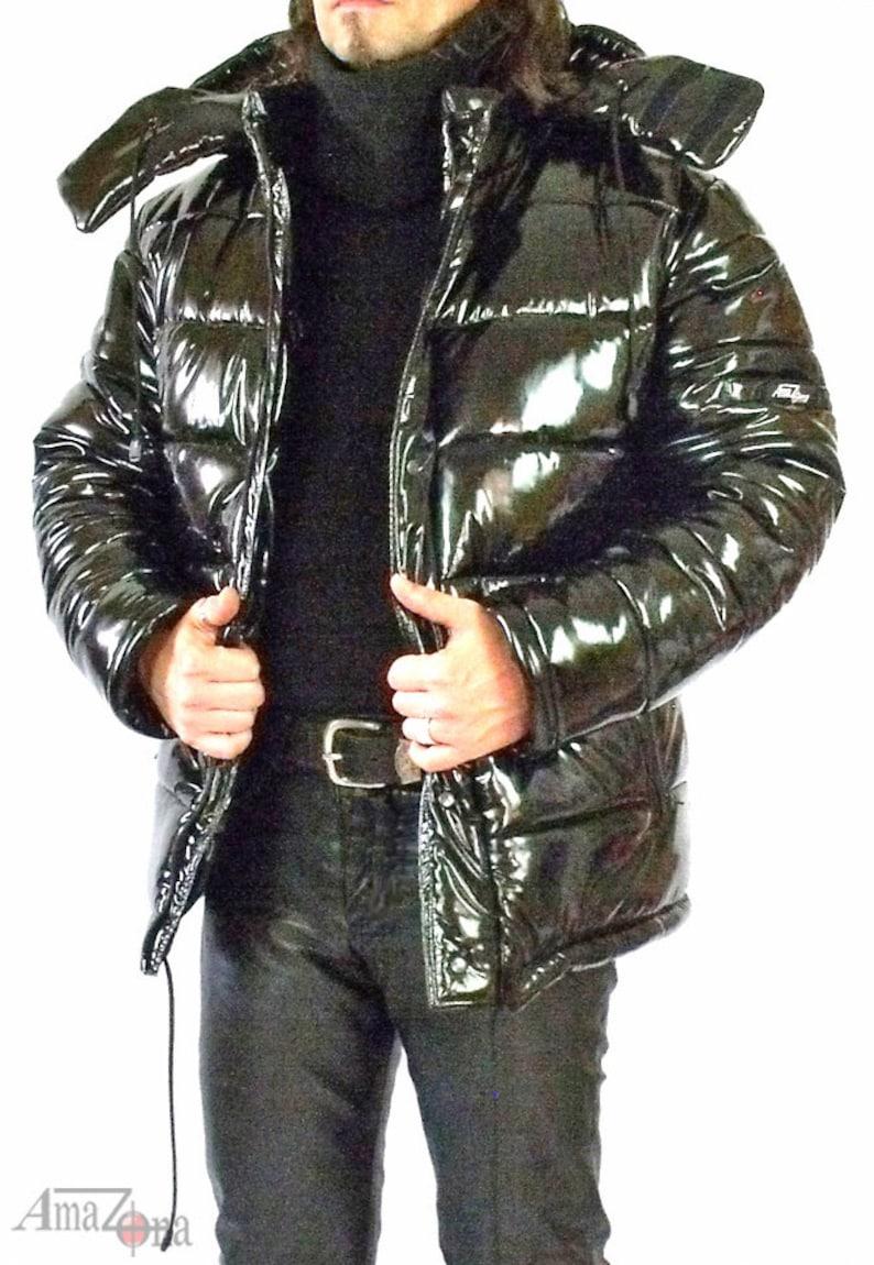 a9113cda6f83ce Monte Vista glänzenden Vinyl Daunenjacke für Männer | Etsy