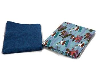 Flannel receiving blanket, set of 2. skiing mice/blue