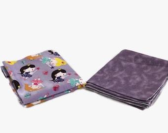 Flannel receiving blanket, set of 2. purple fairy/purple