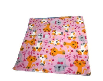 Cute Pink cats Guinea Pig Fleece Cage Liner | Waterproof | Anti-Shrink Design | Handmade With Love For Guinea Pigs | Custom Sizes Offered