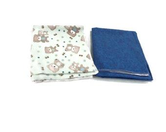 Flannel receiving blanket, set of 2. green bears/blue