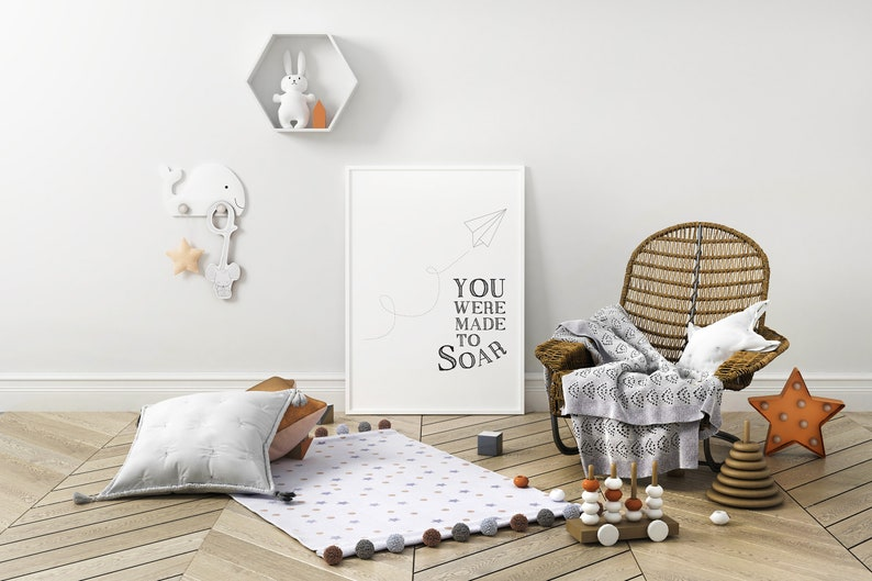 You were made to soar Paper Airplane Art Nursery Decor Art image 0