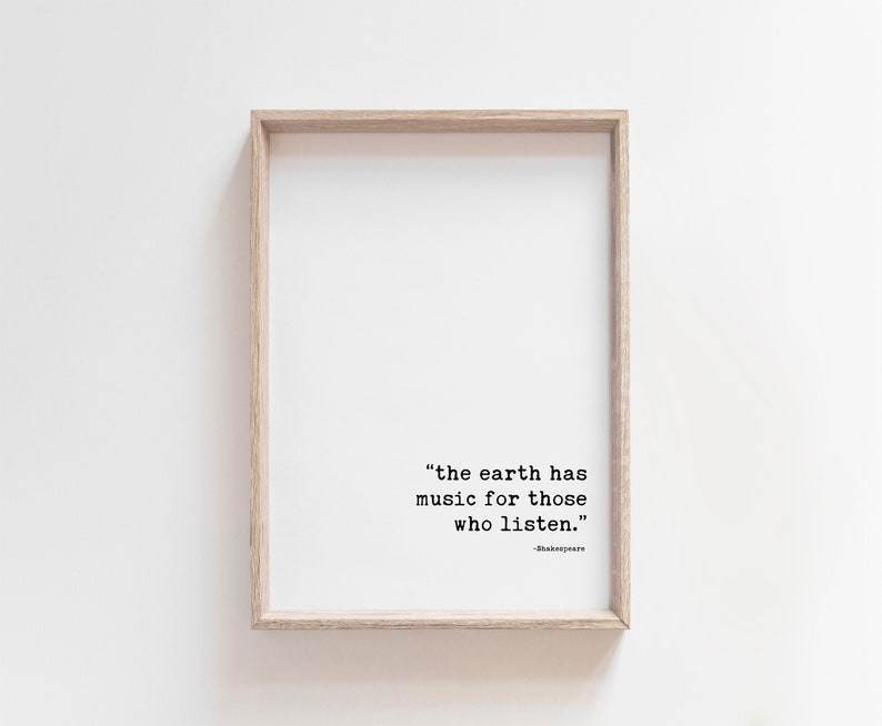 INSTANT DOWNLOAD  Shakespeare The Earth Has Music For Those image 0