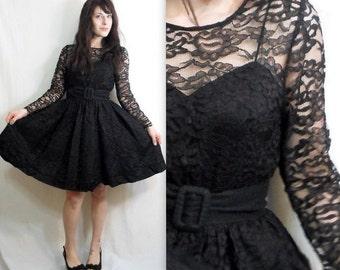 Vintage Lace Dress with Crinoline Skirt